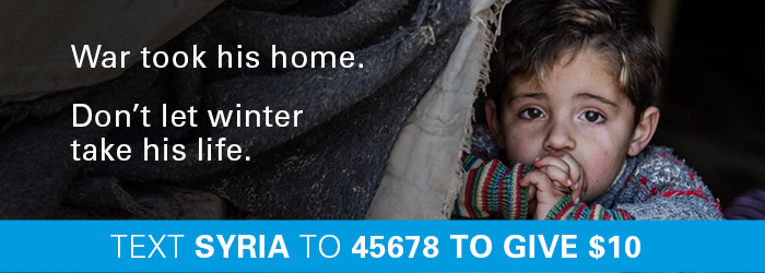text SYRIA to donate $10 for children in Syria