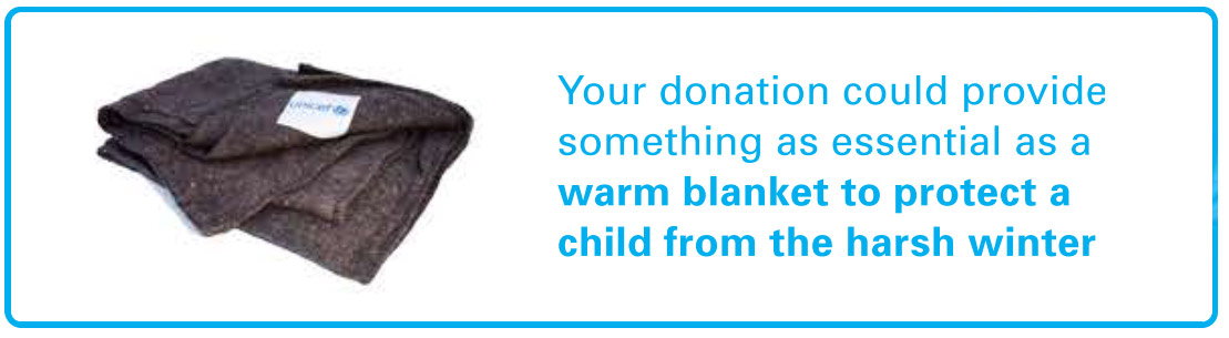 your donation could provide something as essential as a warm blanket to protect a child for the harsh winter