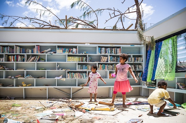 It only took Cyclone Winston literally minutes to rip off the roof of this classroom.