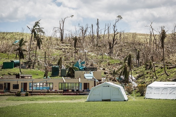 Barotu Primary School in Ra Province was obliterated by Cyclone Winston. UNICEF gave to the school two school tents and teaching and learning materials.