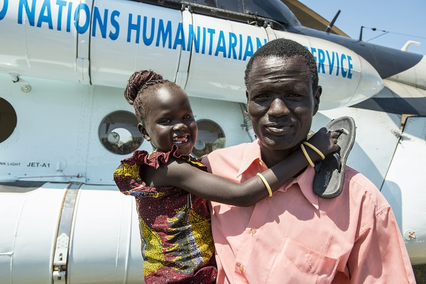 Father and daughter are reunited in South Sudan.