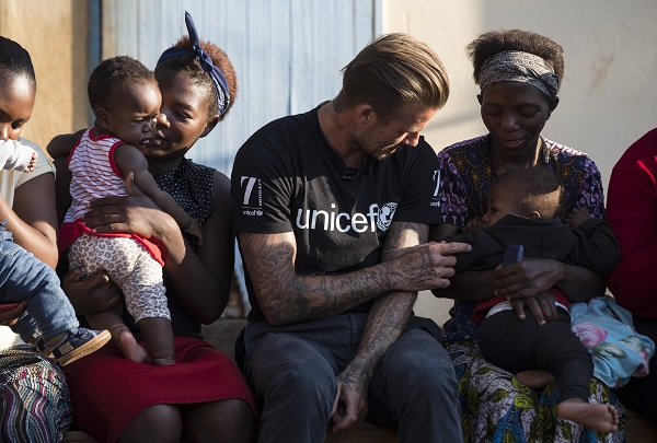 David Beckham speaks to moms and babies in Swaziland