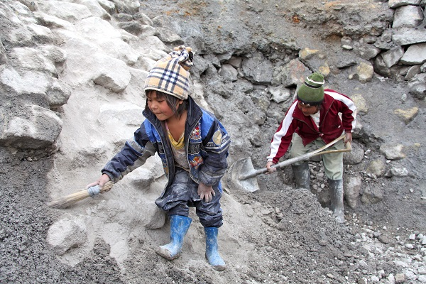Children forced to work in mines.