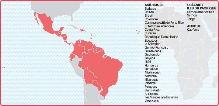 list of countries affected by zika