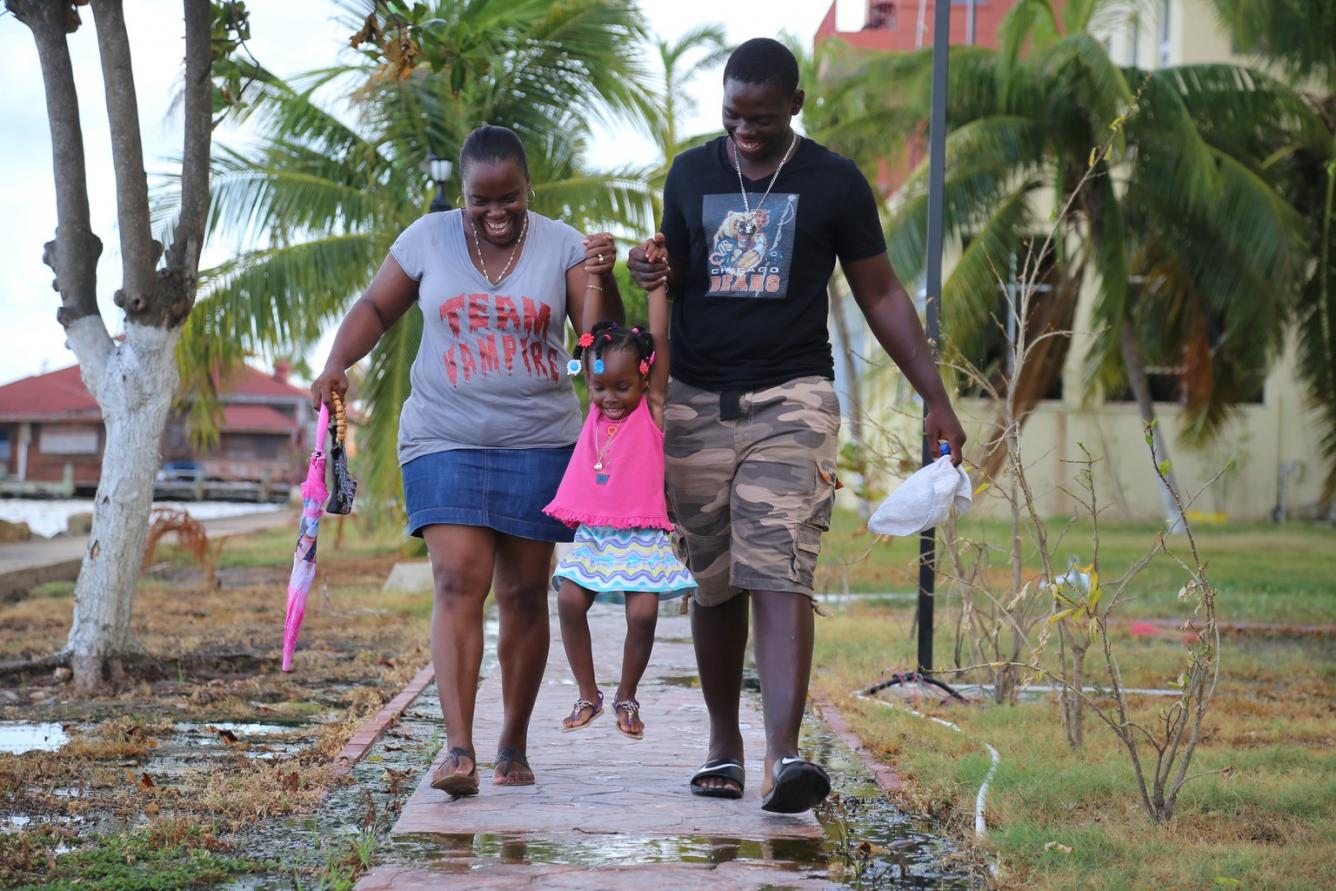 Alishia, her mother and her brother, 17-year-old Andrew, taking a stroll in Belize City.