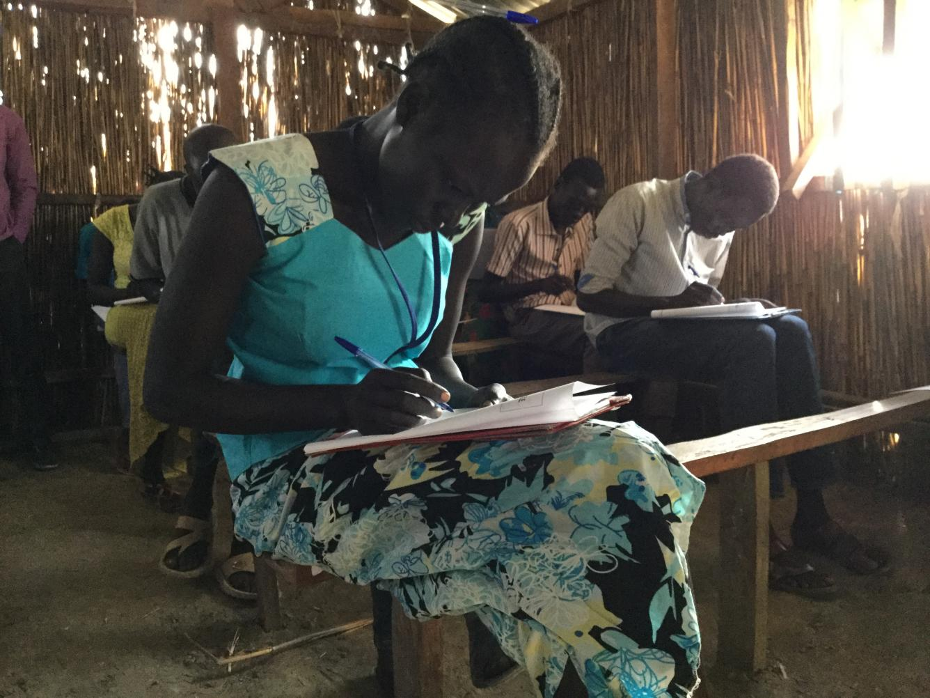 A UNICEF-supported school in Bentiu. Students writing their final exams.