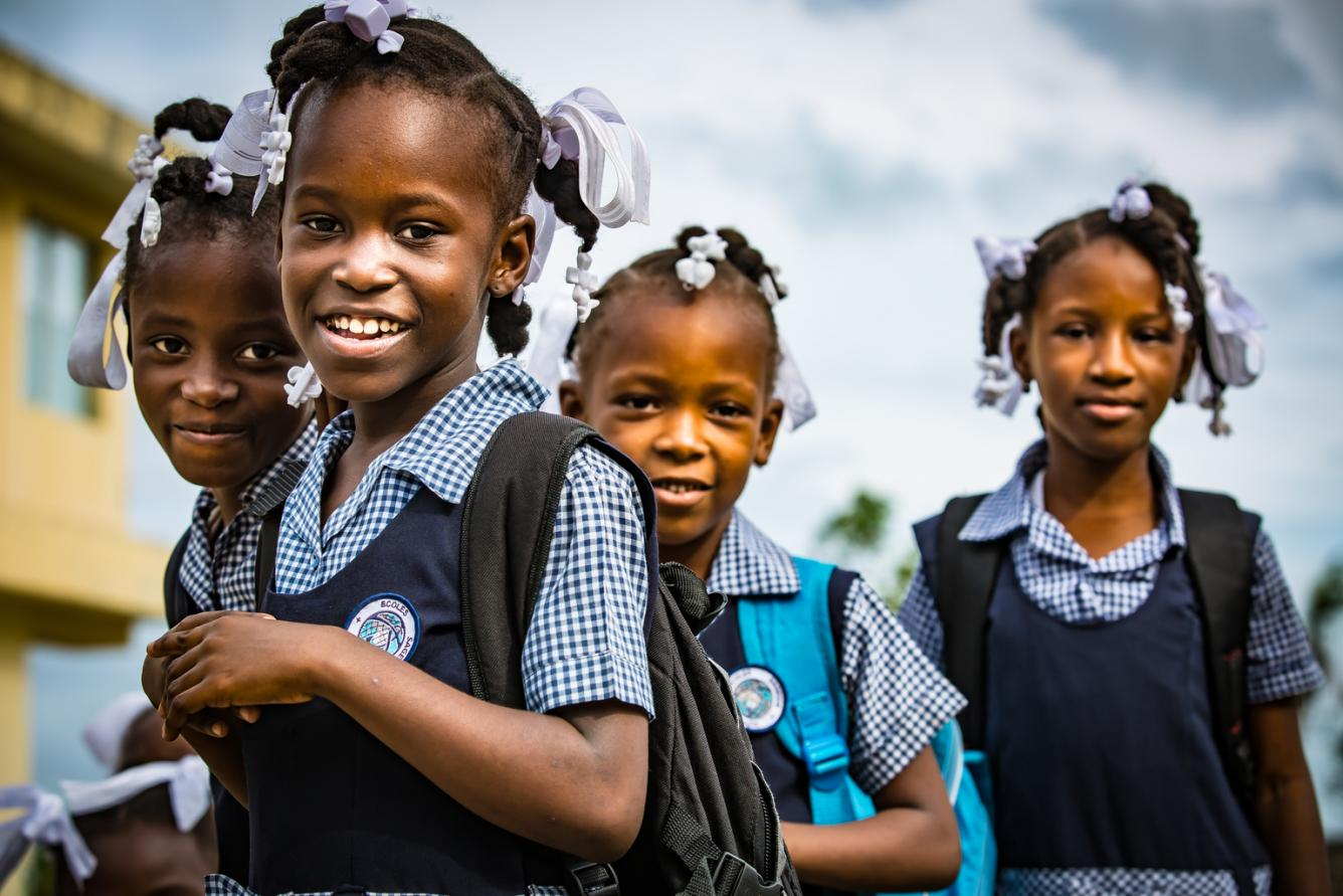 girls going to school in haiti