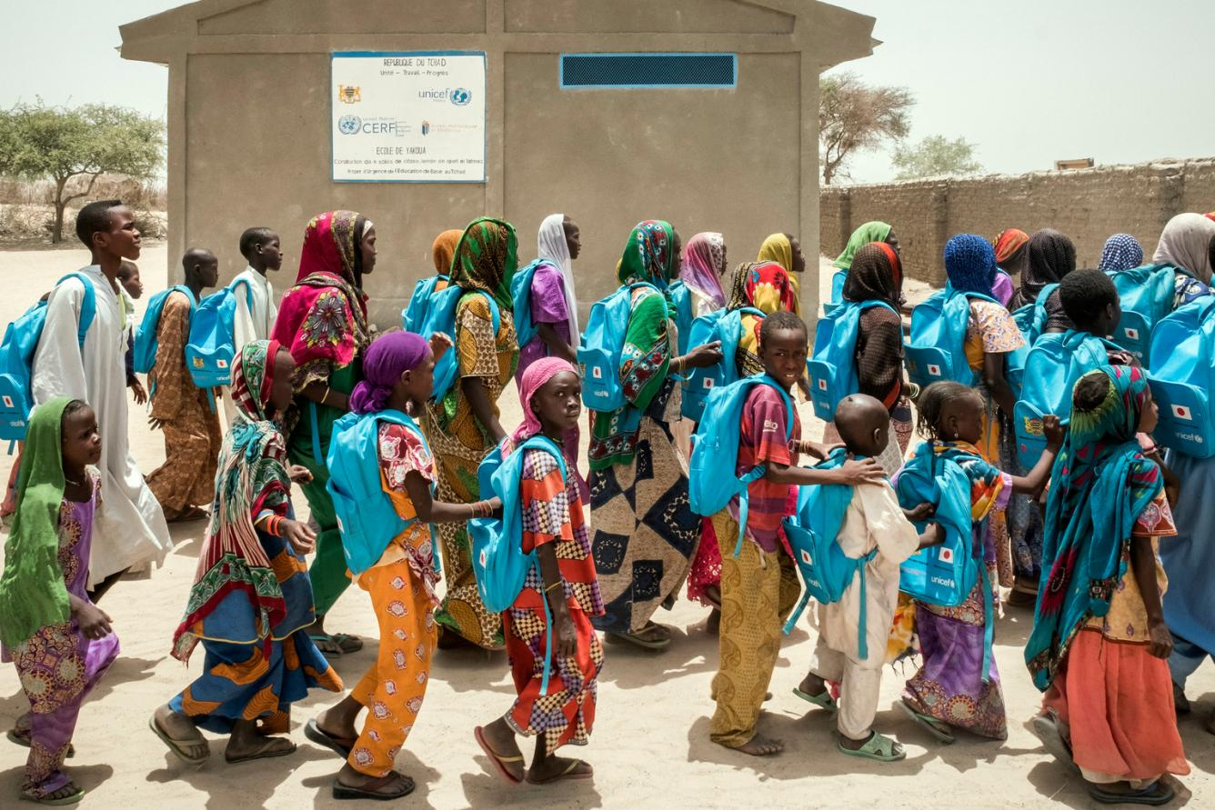 students leaving classes in Chad