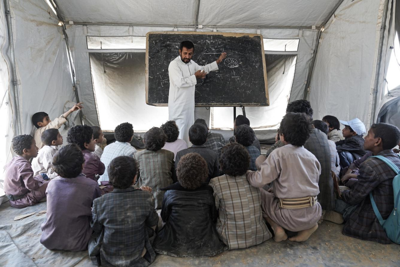 students in a classroom in Yemen